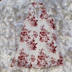 Floral red white dress